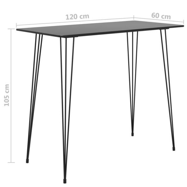 Bartisch Schwarz 120x60x96 cm