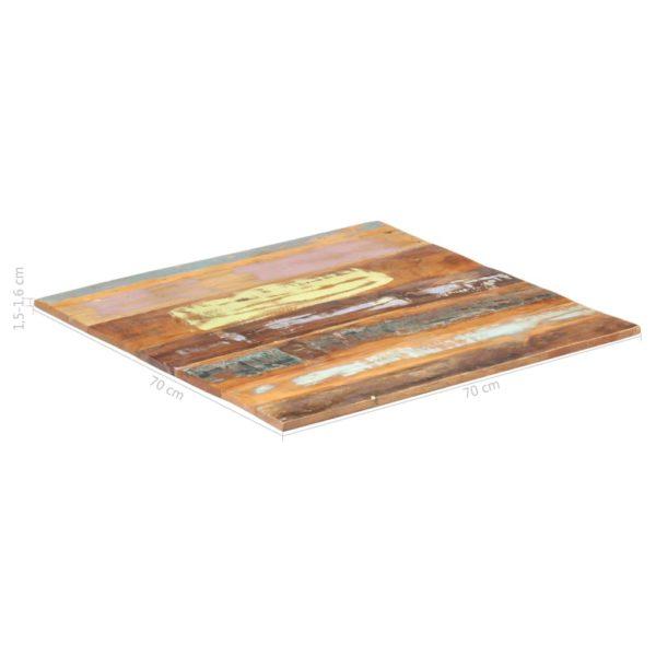 Tischplatte Quadratisch 70×70 cm 15-16 mm Recyceltes Massivholz