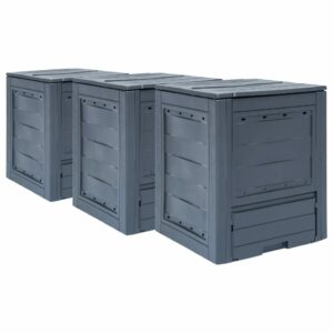 Gartenkomposter 3 Stk. Grau 60 x 60 x 73 cm 780 L