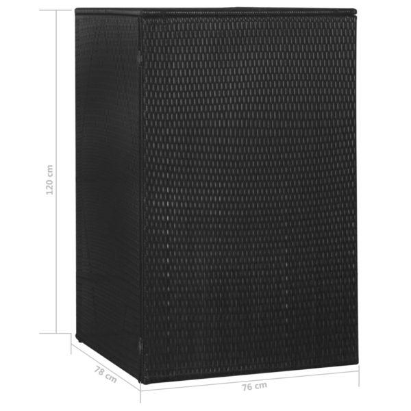 Mülltonnenbox für 1 Tonne Schwarz 76x78x120 cm Poly Rattan