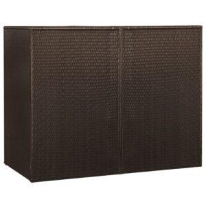 Mülltonnenbox für 2 Tonnen Braun 153 x 78 x 120 cm Poly Rattan