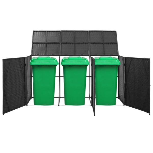Mülltonnenbox für 3 Tonnen Schwarz 229x78x120 cm Poly Rattan
