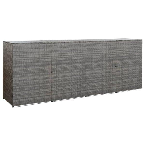 Mülltonnenbox für 4 Tonnen Anthrazit 305x78x120 cm Poly Rattan