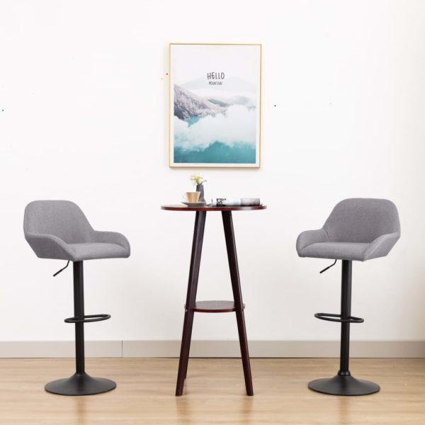 Barstühle 2 Stk. mit Armlehnen Hellgrau Stoff