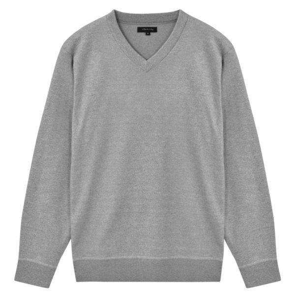5 Stk. Herren Pullover Sweaters V-Ausschnitt Grau L