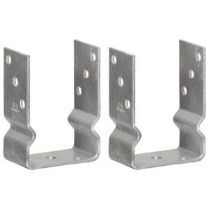 Pfostenträger 2 Stk. Silbern 10×6×15 cm Verzinkter Stahl