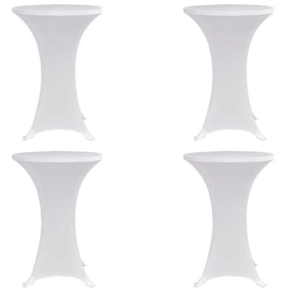 Stehtischhussen 4 Stk. Ø 70 cm Weiß Stretch