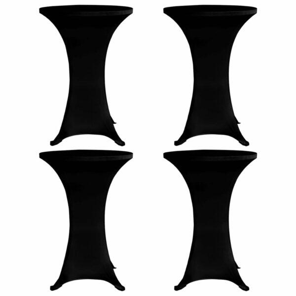 Stehtischhussen 4 Stk. Ø 60 cm Schwarz Stretch