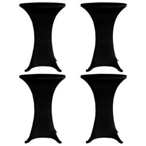 Stehtischhussen 4 Stk. Ø 80 cm Schwarz Stretch