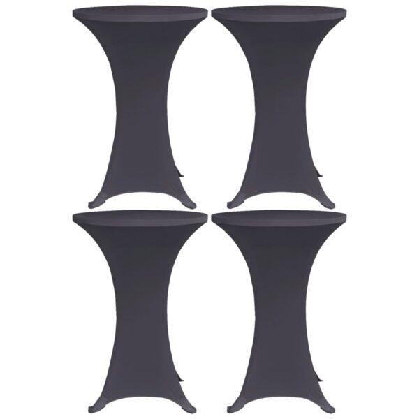 Stretch-Tischhussen 4 Stk. 70 cm Anthrazit