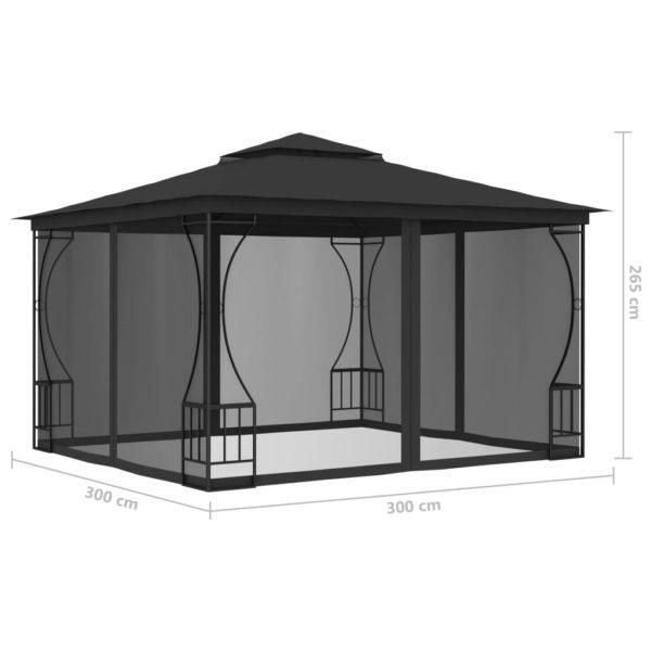 Pavillon mit Vorhängen 300x300x265 cm Anthrazit