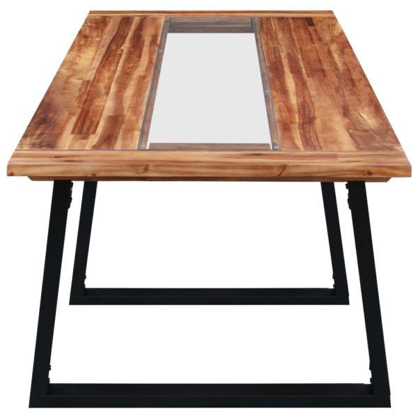Esstisch 180 x 90 x 75 cm Massivholz Akazie und Glas