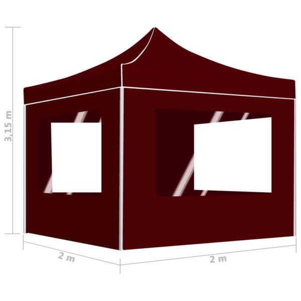 Profi-Partyzelt Faltbar mit Wänden Aluminium 2×2m Bordeauxrot