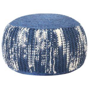 Handgestrickter Pouf Blau und Weiß 50×35 cm Wolle
