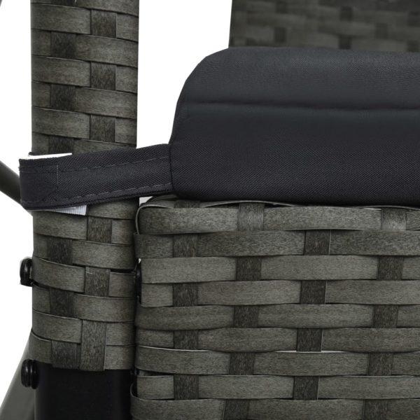 Hollywoodschaukel 3-Sitzer mit Dach Poly Rattan Grau