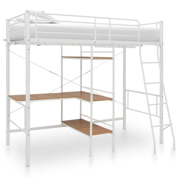 Etagenbett mit Tischrahmen Weiß Metall 90×200 cm