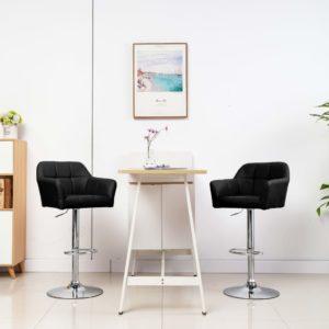 Barstühle 2 Stk. mit Armlehnen Schwarz Kunstleder