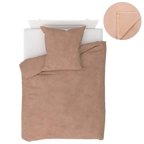 4-tlg. Bettwäsche-Set Fleece Beige 135×200/80×80 cm