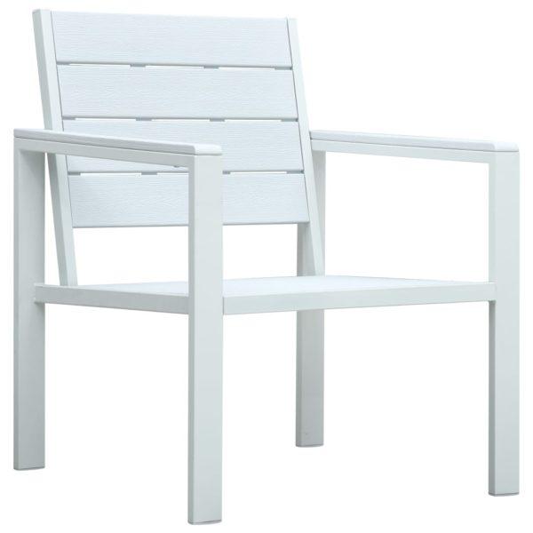 4-tlg. Garten-Lounge-Set HDPE Weiß Holz-Optik