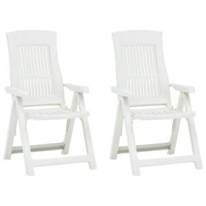 Verstellbare Gartenstühle 2 Stk. Kunststoff Weiß