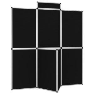 8-Panel Faltdisplay Messewand mit Tisch 181×200 cm Schwarz