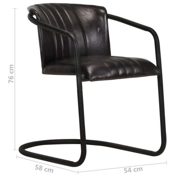Esszimmerstühle 4 Stk. Schwarz Echtleder