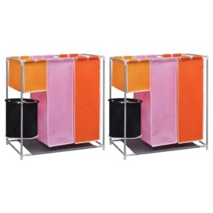 3-Kammer-Wäschekorb 2 Stk. mit Wascheimer