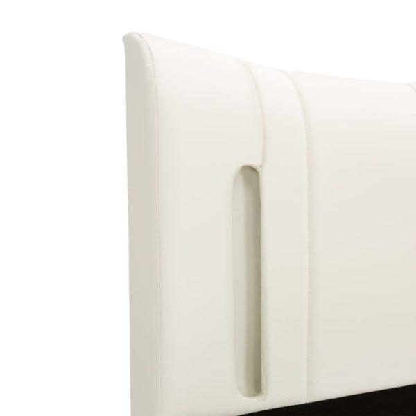 Bettgestell mit LED Weiß Kunstleder 160 x 200 cm