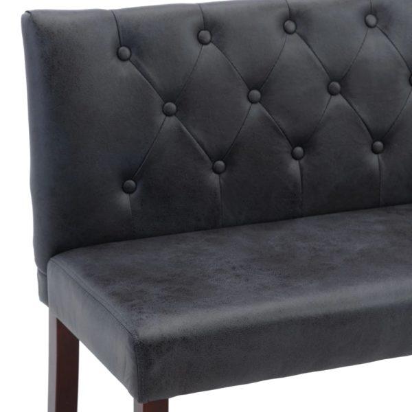 Sitzbank 148,5 cm Grau Wildleder-Optik
