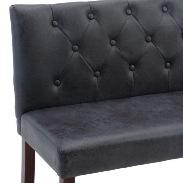 Sitzbank 128,5 cm Grau Wildleder-Optik