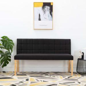 Sitzbank 140 cm Schwarz Stoff