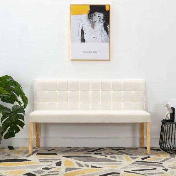 Sitzbank 140 cm Cremeweiß Stoff