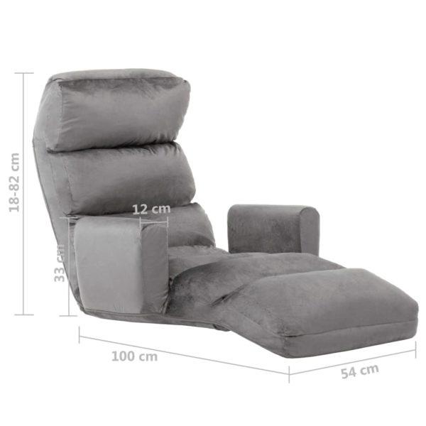 Boden-Schlafsessel mit Armlehnen Grau Stoff