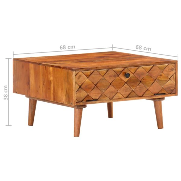 Couchtisch 68 x 68 x 38 cm Massivholz Akazie