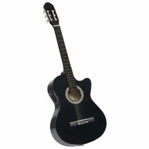 Western Akustik Cutaway Gitarre mit Equalizer 6 Saiten Schwarz