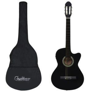 12-tlg. Western Gitarren-Set mit Equalizer und 6 Saiten Schwarz