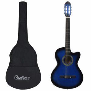 12-tlg. Western Gitarren-Set mit Equalizer und 6 Saiten Blau