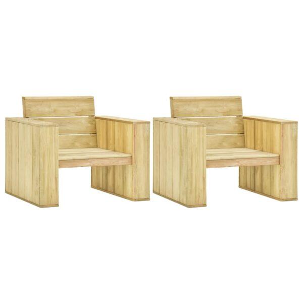 Gartenstühle 2 Stk. 89x76x76 cm Imprägniertes Kiefernholz