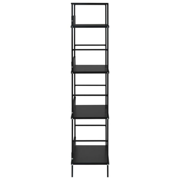 Bücherregal mit 4 Regalböden Schwarz 60×27,6×124,5 Spanplatte