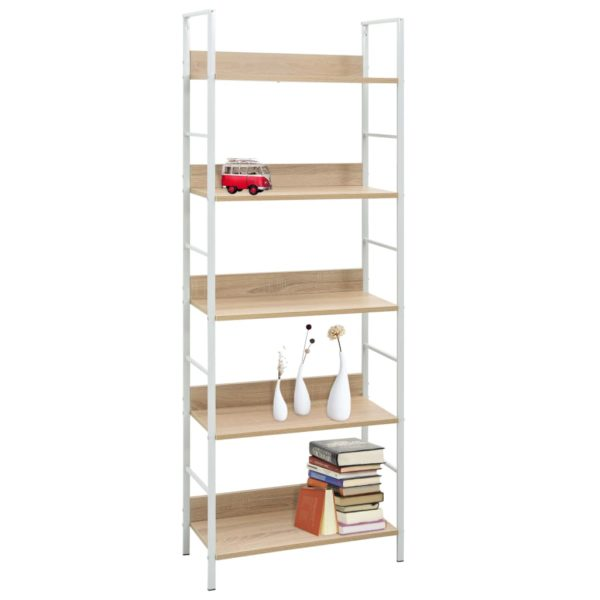 Bücherregal 5 Regalböden Eiche-Optik 60×27,6×158,5 Spanplatte