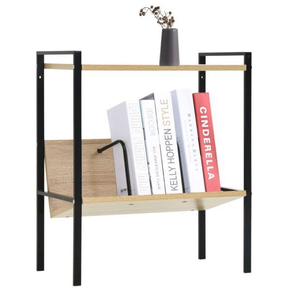 Bücherregal 2 Regalböden Schwarz Eiche-Optik 52×28×59 Spanplatte