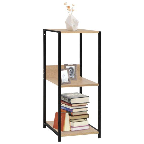 Kleines Bücherregal Schwarz Eichefarben 33,5×39,6×79,7cm