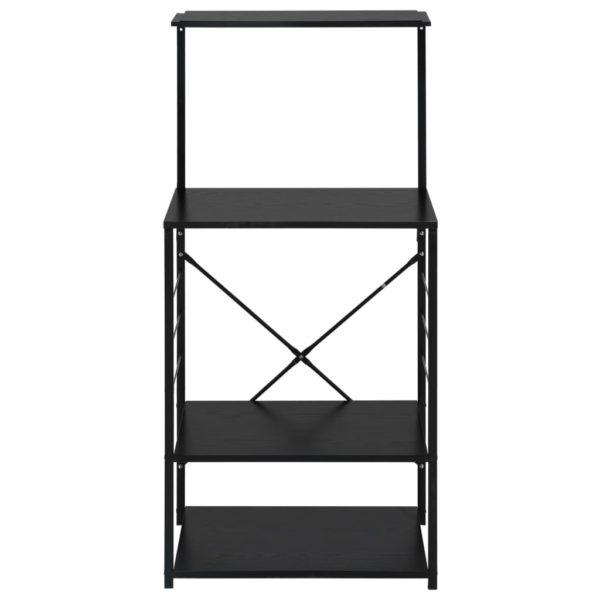 Mikrowellenregal Schwarz 60×39,6×123 cm Spanplatte