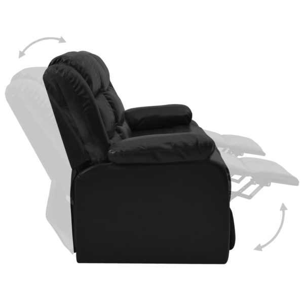 3-Sitzer-Liegesofa Schwarz Kunstleder
