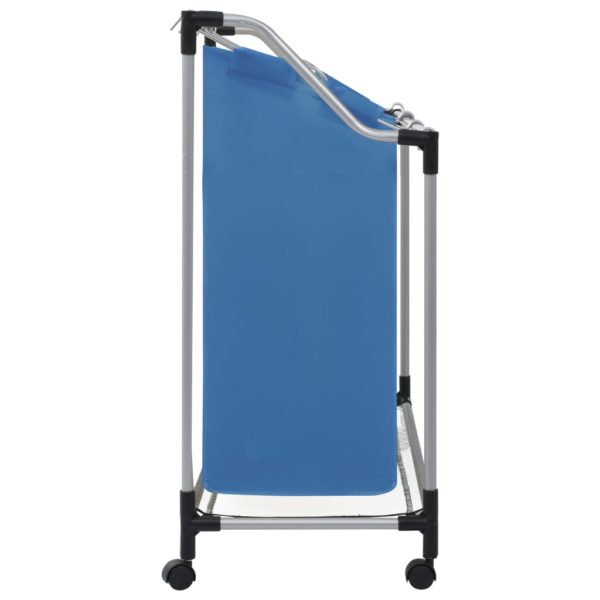 Wäschesortierer mit 3 Taschen Blau Stahl