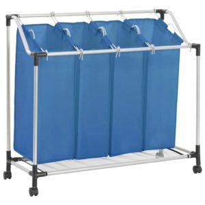 Wäschesortierer mit 4 Taschen Blau Stahl