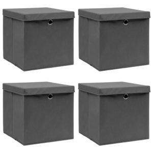 Aufbewahrungsboxen mit Deckel 4 Stk. Grau 32×32×32 cm Stoff