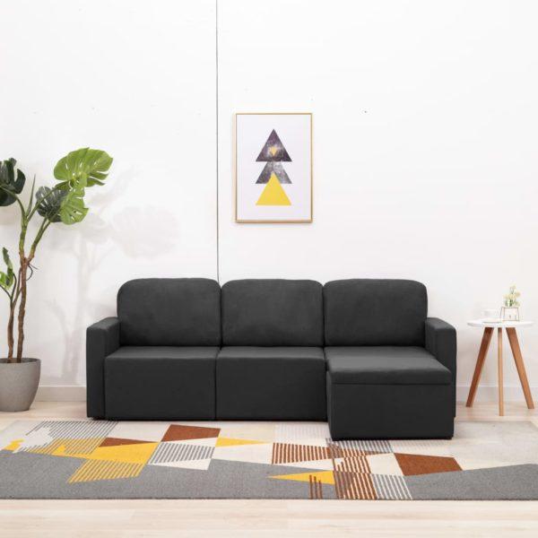 Modulares 3-Sitzer-Schlafsofa Dunkelgrau Stoff