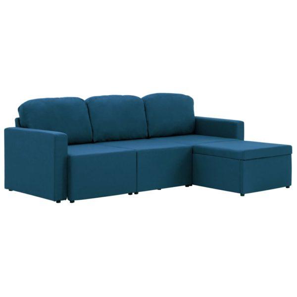 Modulares 3-Sitzer-Schlafsofa Blau Stoff