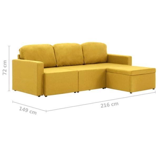 Modulares 3-Sitzer-Schlafsofa Gelb Stoff